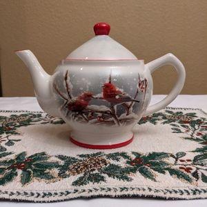 Harry & David Winter Christmas Bird Holly Teapot